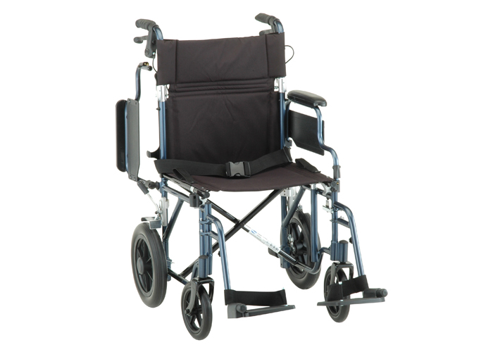 "Transport Chair with 12"" Back Wheels & Brakes"
